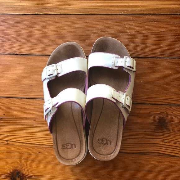 UGG Shoes - Ugg Hanneli white platform sandals size 7